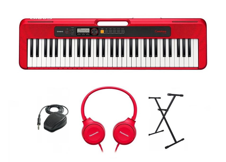 Keyboard CASIO Casiotone CT-S200 RD (czerwony)  + ZESTAW